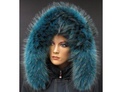 Kožešina na kapuci z finského mývalovce - 2051 PETROL BLUE