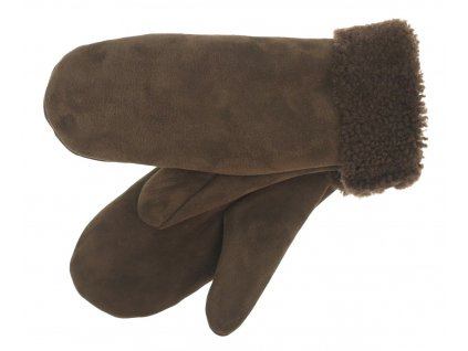 Dámské kožešinové palcové rukavice hnědé