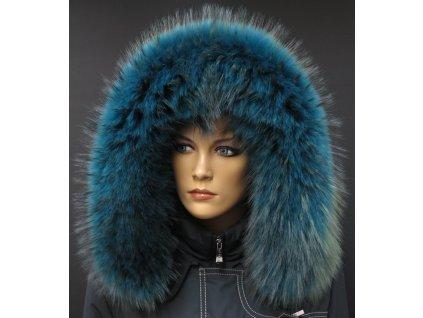 Kožešinový lem na kapuci z finského mývalovce - 2054 PETROL BLUE