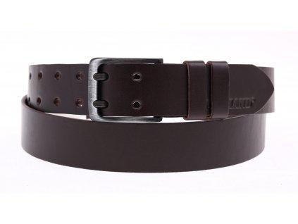 Pánský kožený opasek Black Hand se dvěma trny 005-93 tmavě hnědý - NADMĚRNÁ DÉLKA