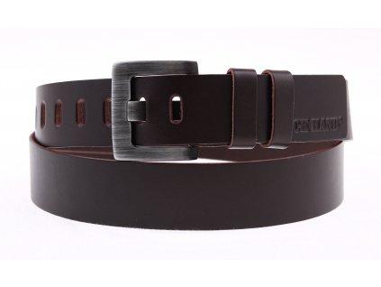 Pánský kožený opasek Black Hand 049-93 tmavě hnědý