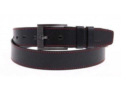 Pánský kožený opasek Black Hand 128-98 černý s červeným štepováním NADMĚR
