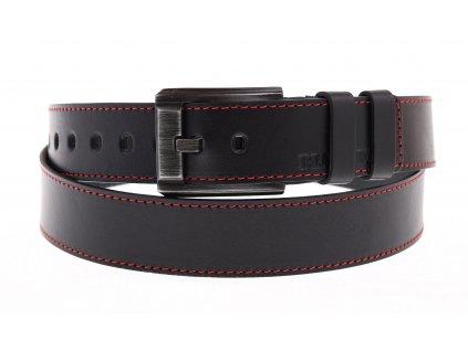 Pánský kožený opasek Black Hand 120-98 černý + červený štep