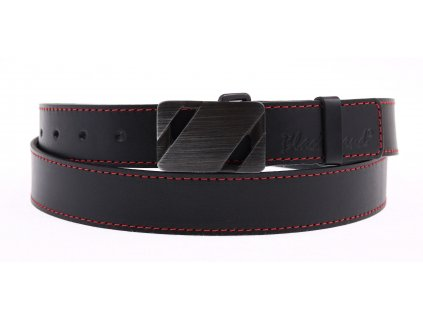 Pánský kožený opasek Black Hand 110-98 černý s červeným štepováním