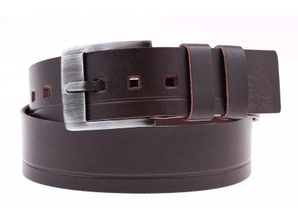 Široký pánský kožený opasek Black Hand 012-93 tmavě hnědý