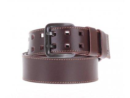 Široký pánský kožený opasek Black Hand 011-78 hnědý se světlým štepováním