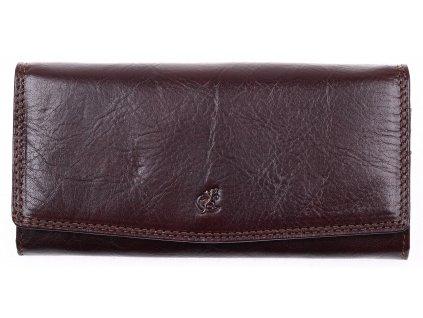 Hnědá kožená peněženka Cosset 4466 Komodo - klasická a dlouhá