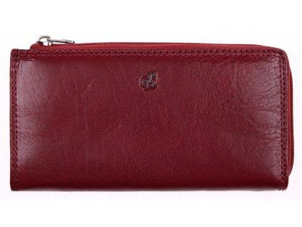 Velká kožená peněženka na zip Cosset 4513 Komodo tmavě červená