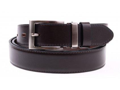 Pánský společenský kožený opasek Penny Belts 301 tmavě hnědý