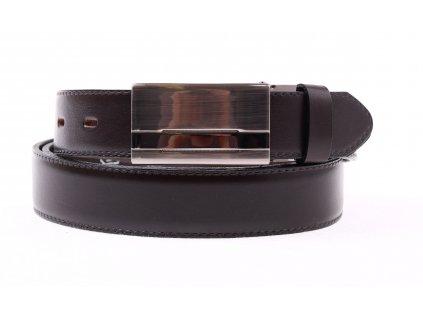 Pánský společenský kožený opasek Penny Belts 303 hnědý s plnou sponou