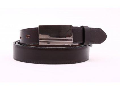 Pánský společenský kožený opasek Penny Belts 304 hnědý s plnou sponou