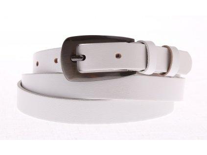 Dámský úzký kožený opasek Penny Belts 20-179-00 bílý