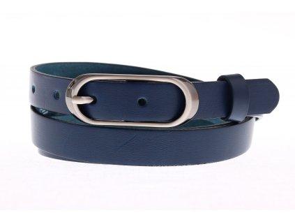 Dámský úzký kožený opasek Penny Belts 20-175-56 modrý