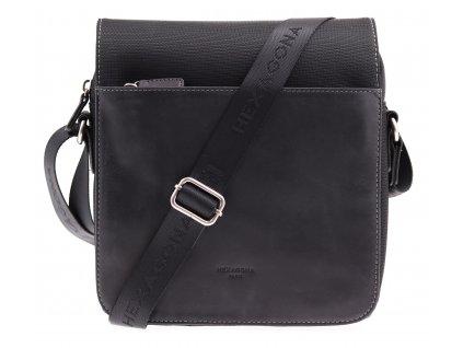 Pánská taška přes rameno Hexagona 292684 černá kůže + nylon