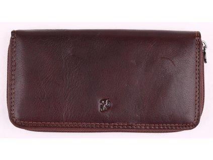 Velká dámská kožená peněženka penál Cosset 4492 Komodo hnědá