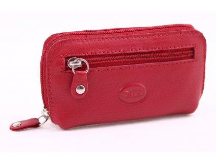 červená kožená klíčenka na zip - pravá kůže