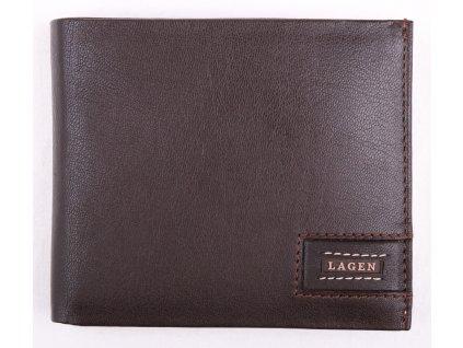Pánská kožená peněženka Lagen LG1126 hnědá s béžovým štepováním