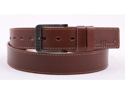 Pánský kožený opasek Black Hand 106-75 středně hnědý s kontrastním štepem