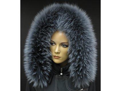 Kožešina na kapuci z finského mývalovce - 9000 šedá melír