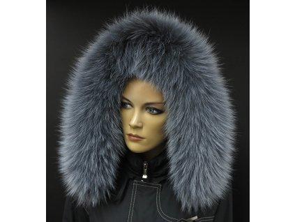 Kožešina na kapuci z finského mývalovce - 9001 šedá melír