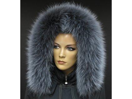 Kožešina na kapuci z finského mývalovce - 9003 šedá melír