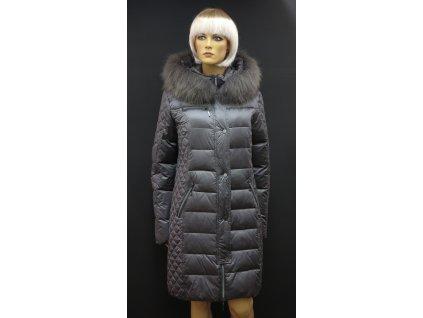 Zimní dlouhá péřová bunda s pravou kožešinou Leder Pellicce - tmavě šedá Martina