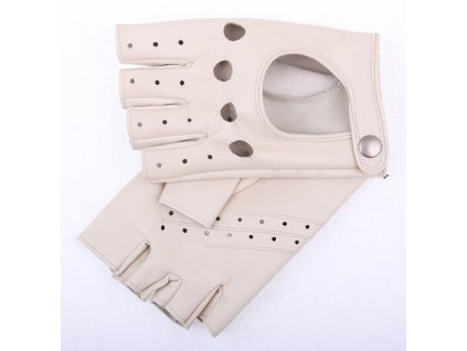 kožené řidičské rukavice  bezprsté břízově hnědé