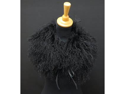 kožešinový límec z tibetské ovce černý