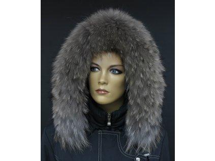 Kožešina na kapuci z finského mývalovce - 4025  SMOKE šedohnědý