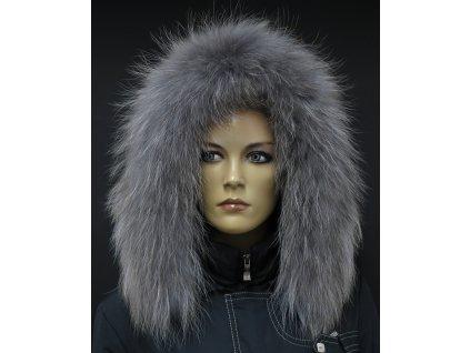 Kožešina na kapuci z finského mývalovce - 4026  SMOKE šedohnědý 2. JAKOST