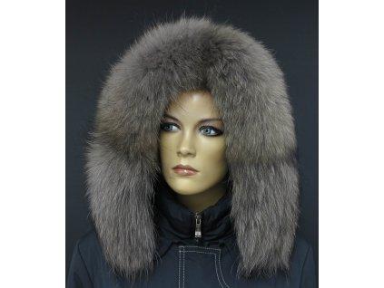 Kožešina na kapuci z finského mývalovce - 4027  SMOKE šedohnědý