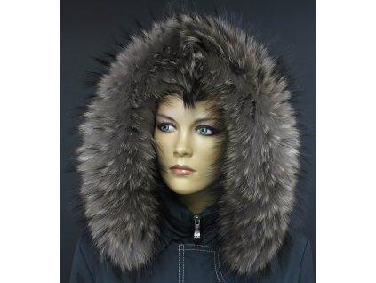 Kožešina na kapuci z finského mývalovce - 4028  SMOKE šedohnědý