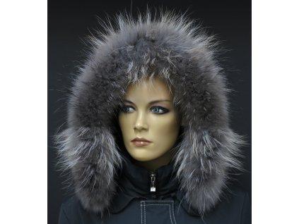 Kožešina na kapuci z finského mývalovce - 4030  SMOKE šedohnědý 2.  JAKOST