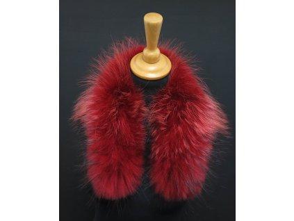 Kožešinový lem na kapuci z finského mývalovce 4089 RED krátký 60 cm