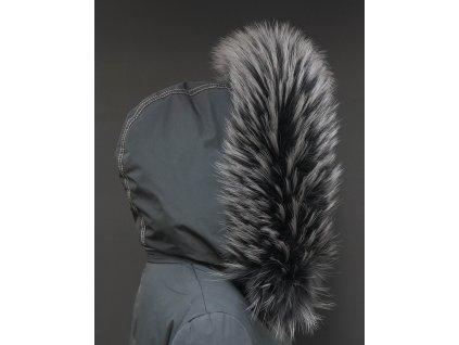 Kožešina na kapuci z finského mývalovce - 3052 GRAFIT - šedý s melírem