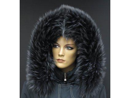 Kožešina na kapuci z finského mývalovce - 3053 GRAFIT - šedý s melírem