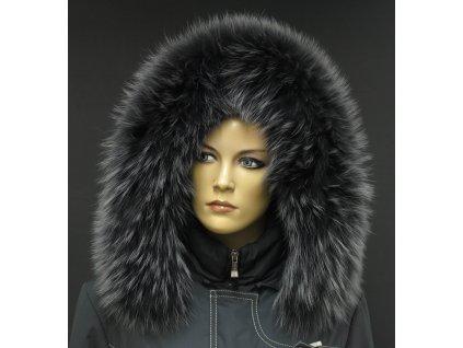 Kožešina na kapuci z finského mývalovce - 3054 GRAFIT - šedý s melírem
