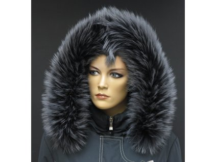 Kožešina na kapuci z finského mývalovce - 3055 GRAFIT - šedý s melírem