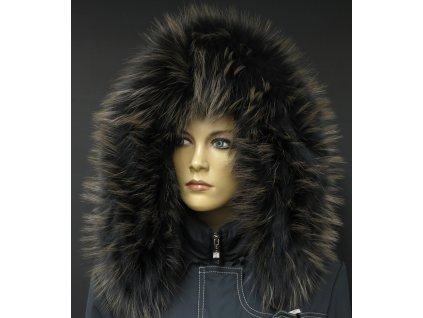 Kožešinový lem na kapuci z mývalovce - 9061 BLACK OLIVA
