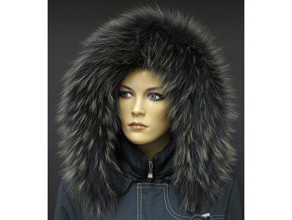 Kožešinový lem na kapuci z mývalovce - 9063 BLACK OLIVA