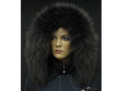 Kožešinový lem na kapuci z mývalovce - 9064 BLACK OLIVA