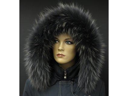 Kožešinový lem na kapuci z mývalovce - 9065 BLACK OLIVA