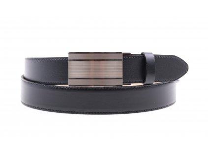 Pánský kožený opasek Penny Belts 3512 s plnou sponou AUTOMAT černý (Velikost opasku = obvod vašeho pasu (cm) 95 cm)