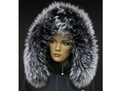 Kožešinový lem límec na kapuci z finského mývalovce 1021 BLACK & WHITE
