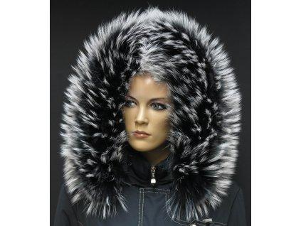 Kožešinový lem límec na kapuci z finského mývalovce 1022 BLACK & WHITE