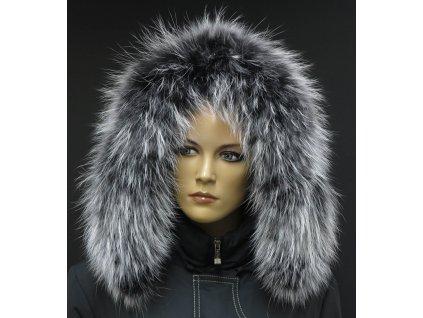 Kožešinový lem límec na kapuci z finského mývalovce 1023 BLACK & WHITE 2. JAKOST