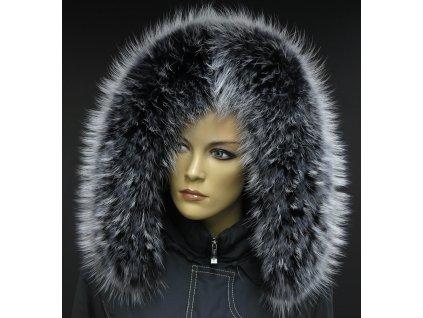 Kožešinový lem límec na kapuci z finského mývalovce 1024 BLACK & WHITE