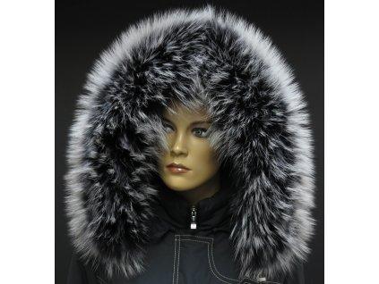 Kožešinový lem límec na kapuci z finského mývalovce 1026 BLACK & WHITE