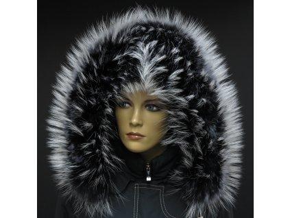 Kožešinový lem límec na kapuci z finského mývalovce 1028 BLACK & WHITE