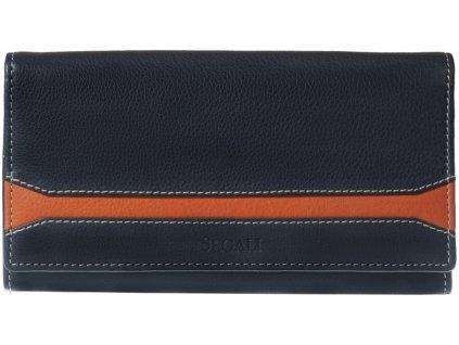 Velká kožená peněženka Segali SG-60225 tmavě modrá / oranžová